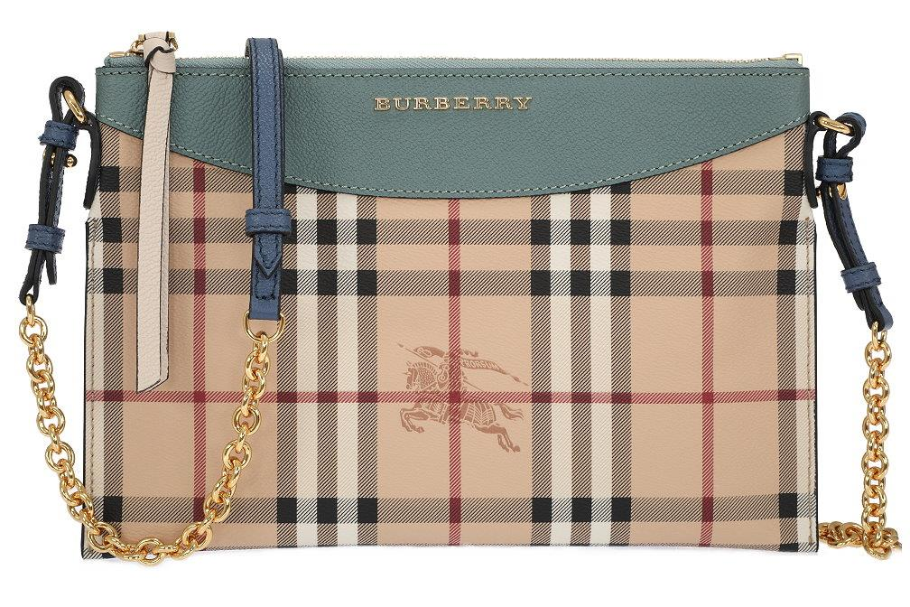 f7bfb0bbaa24 Details about NEW BURBERRY LADIES CURRENT GREEN HAYMARKET CHECK LOGO PRINT  CLUTCH BAG W CHAIN