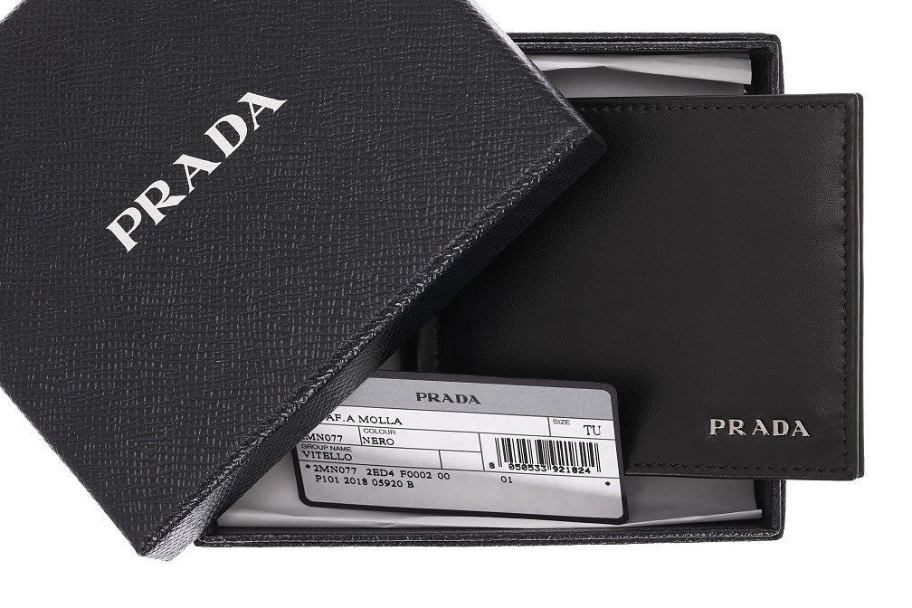 66a321e031bf36 NEW PRADA MILANO BLACK LEATHER MONEY CLIP WALLET CARD HOLDER CASE | eBay