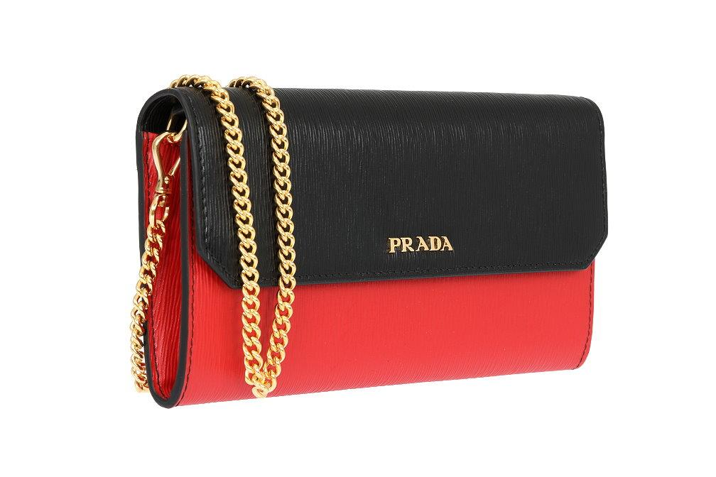 efbae5ff1c07 Details about NEW PRADA RED BLACK TEXTURED LEATHER LOGO CHAIN BAG CROSSBODY  WALLET W/BOX