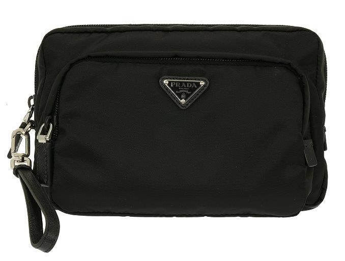 f46106f68ccce NEW PRADA BLACK TESSUTO LOGO WRISTLET CLUTCH BAG TOILETRY CASE
