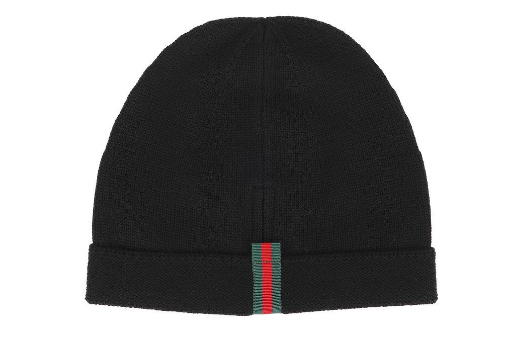 6801e061 LUXURY QUALITY BLACK COLOR 100% WOOL KNIT TEXTURE HAT, WEB LOGO DETAILS ST  THE BACK. SIZE 58/MEDIUM. STRETCHY TEXTURE.