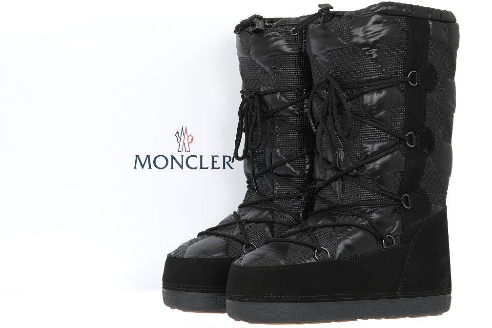 8994c278734e NEW MONCLER BLACK LOGO LACE SKI SNOW WINTER BOOTS FITS SIZE 41 42 43 ...