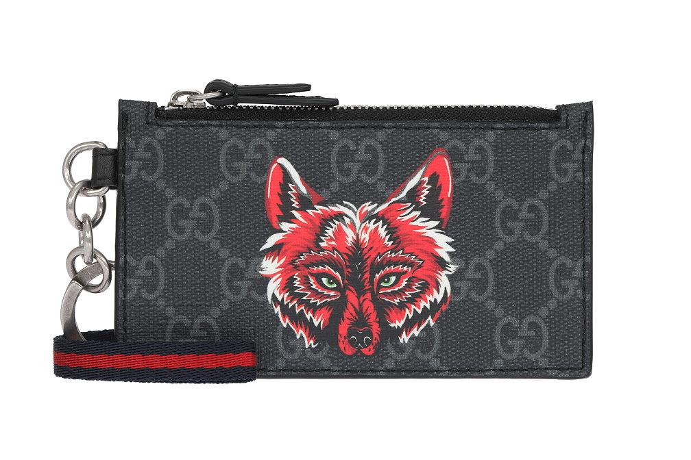 88a6b9df5730 LUXURY QUALITY BLACK GRAY SIGNATURE GG GUCCISSIMA PRINT , WOLF DETAILS. WEB  STRAP WITH KEY RING ATTACHED. 4 CARD SLOTS, ZIPPED COMPARTMENT.