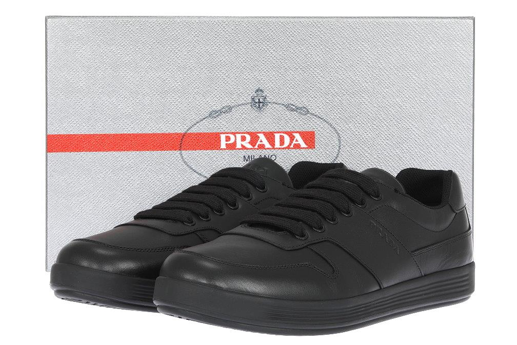 3c2cf4a78 Details about NEW PRADA MEN S BLACK LEATHER LOGO LACE-UP CASUAL SHOES  SNEAKERS 8 US 9