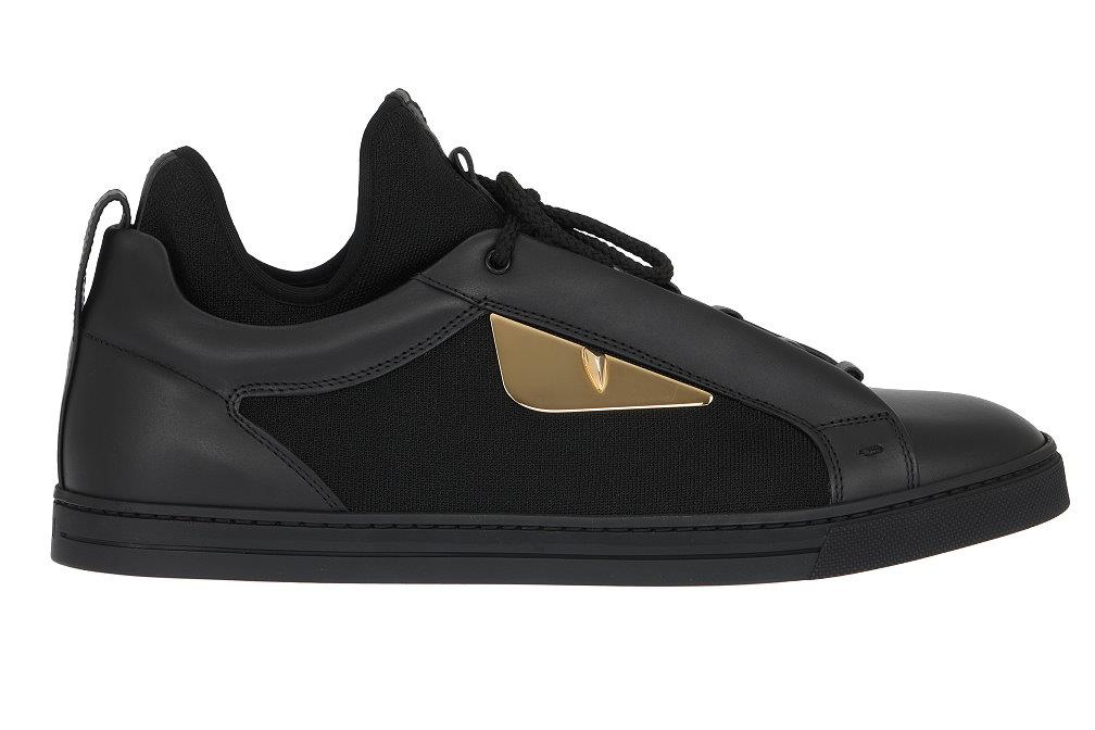 df16ba2d7376 Details about NEW FENDI MONSTER EYES BLACK LEATHER LOW TOP SNEAKERS SHOES  UK 7 US 8 EU 41