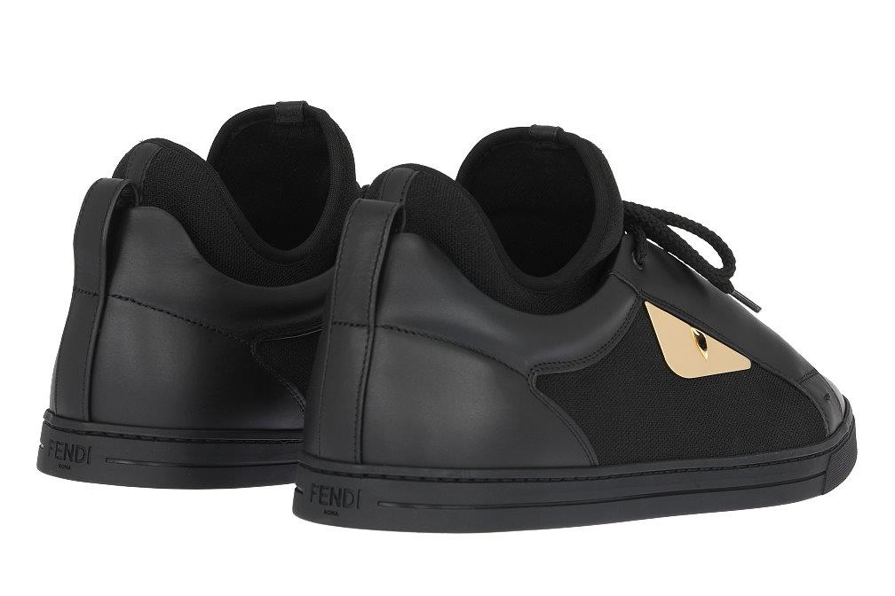 643c8d2d33a LUXURY QUALITY BLACK COLOR 100% LEATHER LOW TOP LACE-UP SNEAKERS, GOLD TONE  METAL MONSTER EYES. BLACK 100% RUBBER SOLE FENDI ROMA MADE IN ITALY STAMPED.