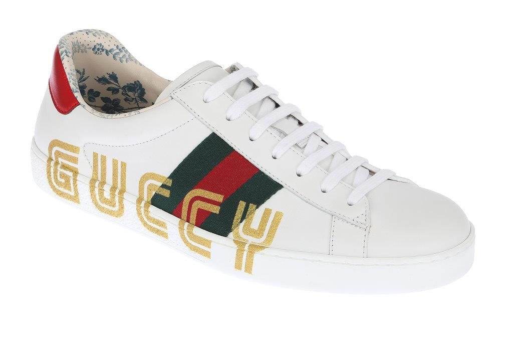 83ef3b8bc Details about NEW GUCCI ACE MEN'S WHITE LEATHER WEB LOGO LOW TOP SNEAKERS  SHOES 8 G/US 8.5