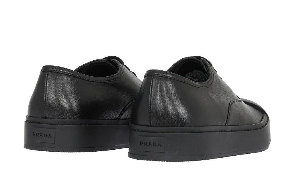54384f884a1421 Details about NEW PRADA BLACK LEATHER LOGO LOW TOP PLATFORM CASUAL SHOES  9.5/US 10.5
