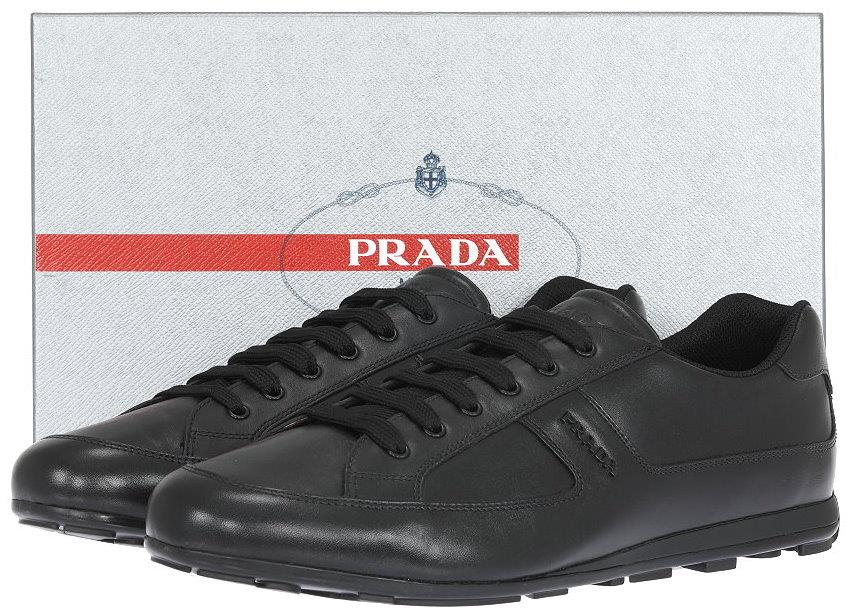1e1d33d8243d14 NEW PRADA BLACK LEATHER LOGO SNEAKERS CASUAL LOW TOP SHOES 12/US 13 ...
