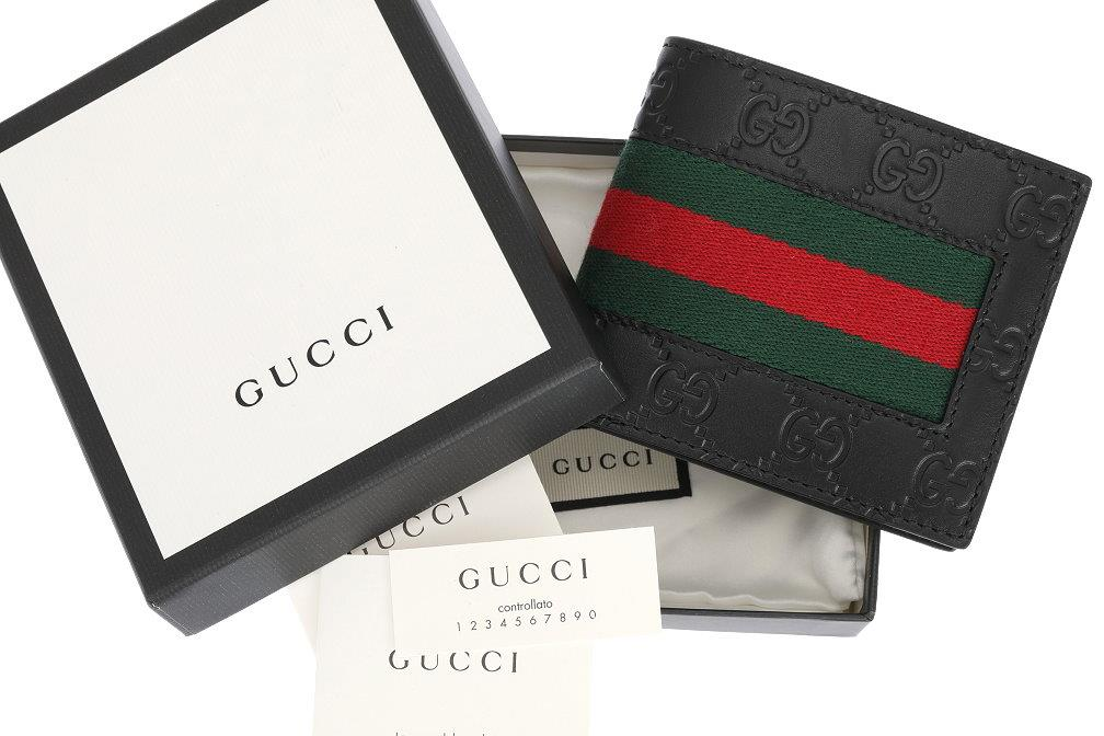 8f63b22b193d Details about NEW GUCCI LUXURY BLACK GG GUCCISSIMA WEB BI-FOLD WALLET CARD  HOLDER W/BOX
