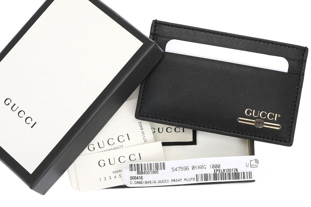 04b0621d1a3 Details about NEW GUCCI LUXURY BLACK LEATHER LOGO CREDIT CARD HOLDER CASE  W BOX