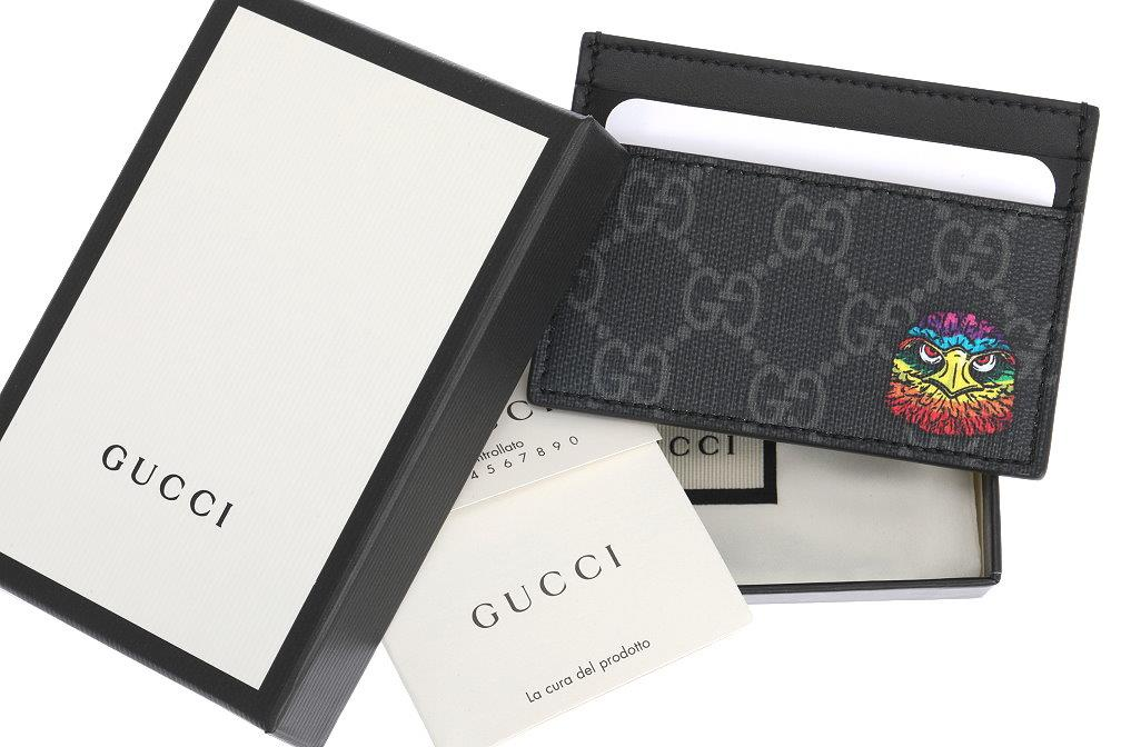 a7a63938f34564 Details about NEW GUCCI LUXURY BLACK GRAY GG GUCCISSIMA SUPREME LEATHER  CARD HOLDER CASE W/BOX