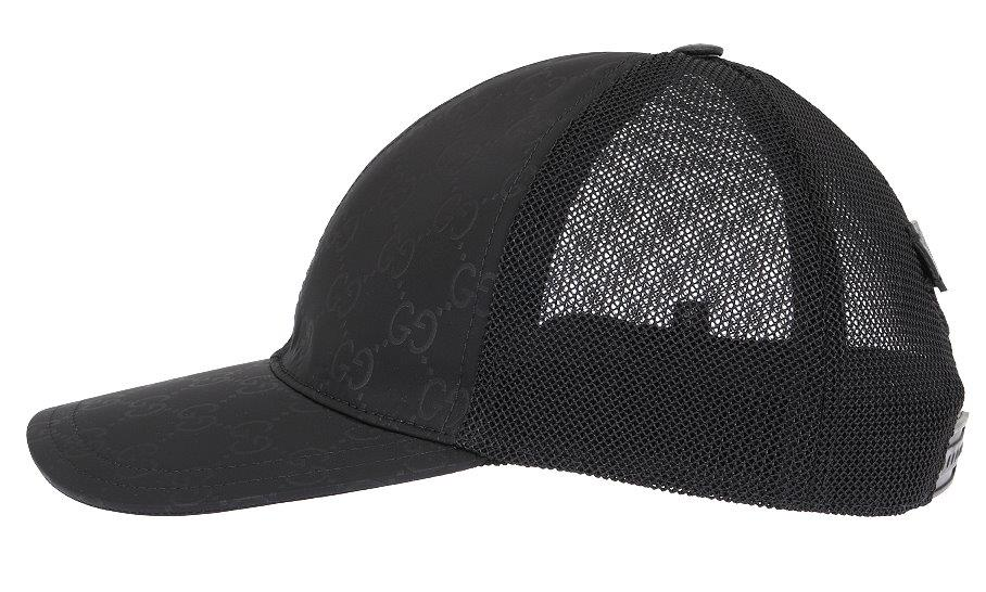 Details about NEW GUCCI BLACK GG GUCCISSIMA TESSUTO NET LINING LOGO  BASEBALL CAP HAT 58 M c6ddd8a63258