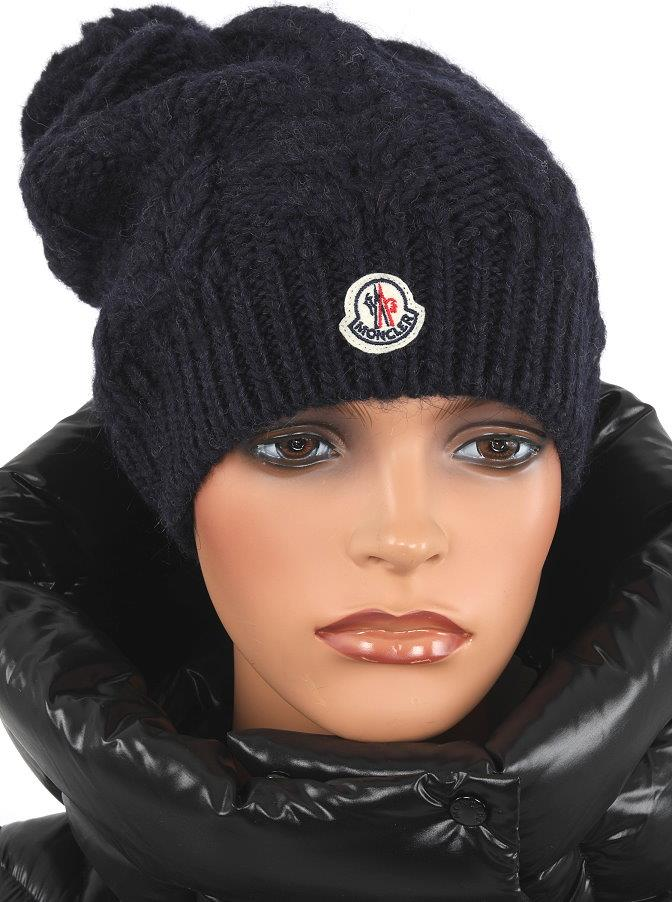 NEW MONCLER CABLE KNIT NAVY BLUE WOOL LOGO POM POM BEANIE HAT ONE ... 4ff1555e6f22
