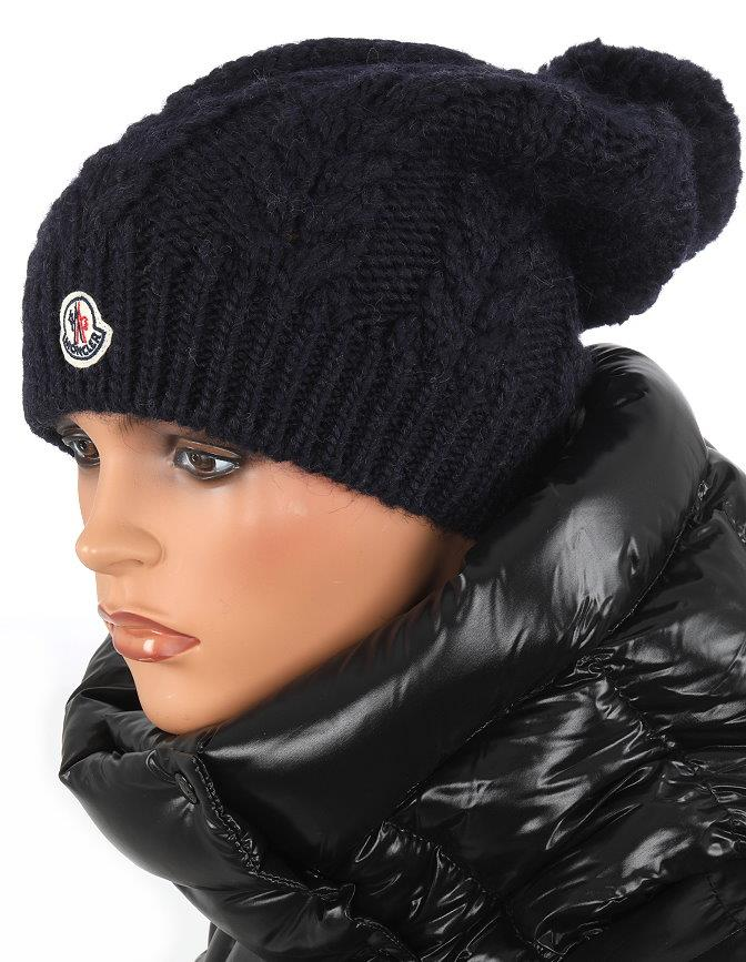 9b602af303a4b NEW MONCLER CABLE KNIT NAVY BLUE WOOL LOGO POM POM BEANIE HAT ONE ...