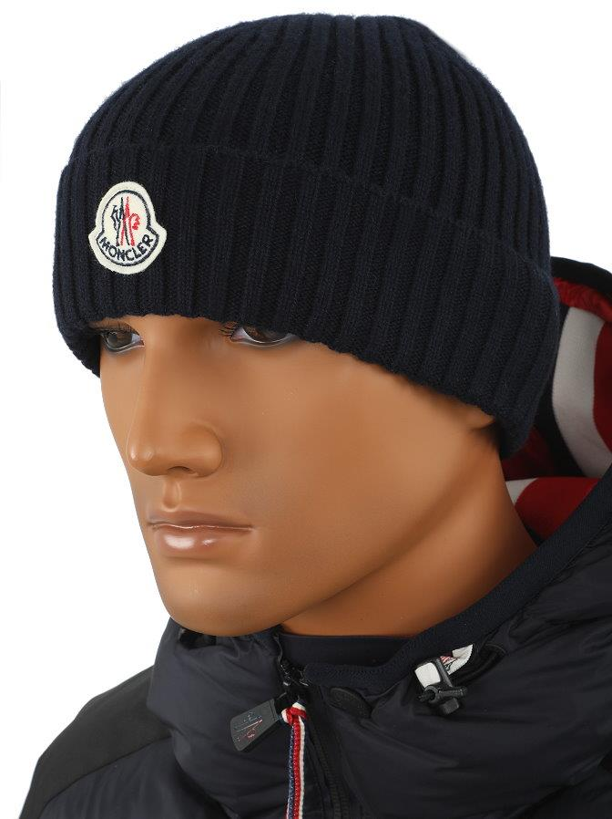 bf6a11c5a NEW MONCLER MEN S 100% WOOL BLUE LOGO BEANIE HAT ONE SIZE MADE IN ...