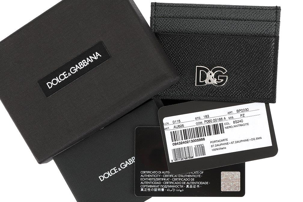 9079ff1469 NEW DOLCE & GABBANA BLACK GRAY GRAINED LEATHER LOGO CREDIT CARD ...