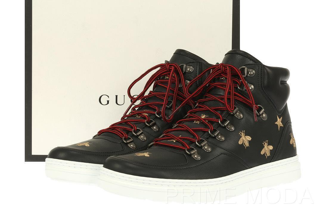 Details about NEW GUCCI BLACK LEATHER GOLD BEE EMBOSSED HIGH TOP SNEAKERS  SHOES 10 G US 11 0babf09061c