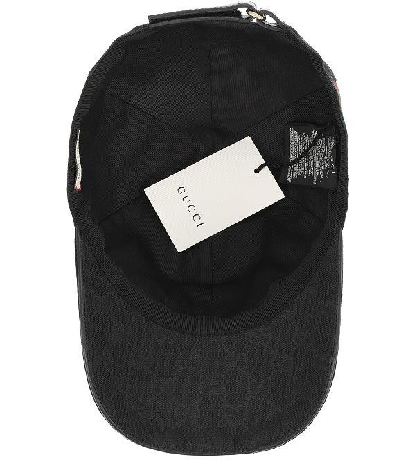 NEW GUCCI LUXURY BLACK GG CANVAS WEB DETAIL BASEBALL CAP HAT 58 M ... 24ea98f31ad5