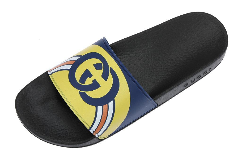 892e88f018ca LUXURY QUALITY BLUE/YELLOW COLOR RUBBER WITH LOGO GG DETAILS. MOLDED RUBBER  FOOTBED. PLEASE CHECK SIZE GUIDE FOR THE SPECIFIC MODEL OF THE SHOES!