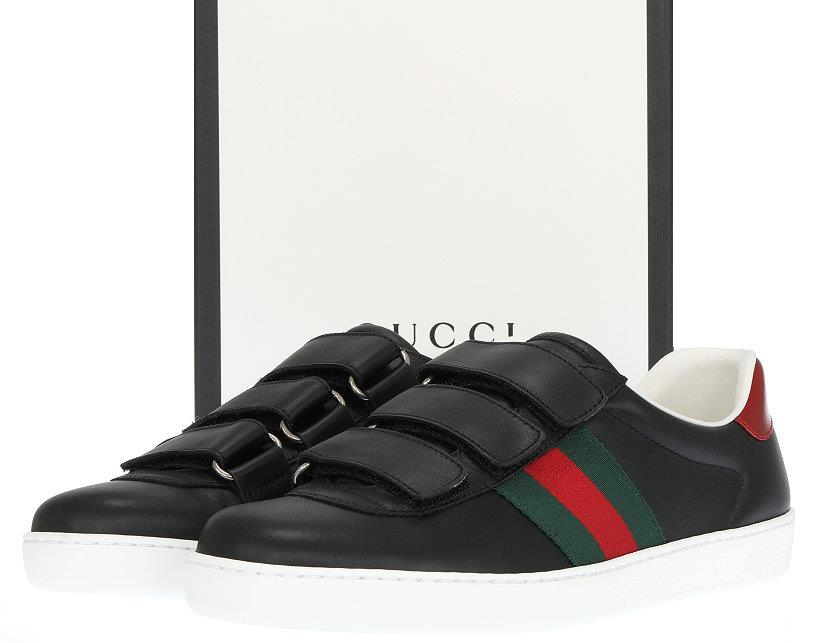 43ae9a522b1 NEW GUCCI ACE MEN S BLACK LEATHER WEB DETAIL LOGO SNEAKERS SHOES 7.5 ...