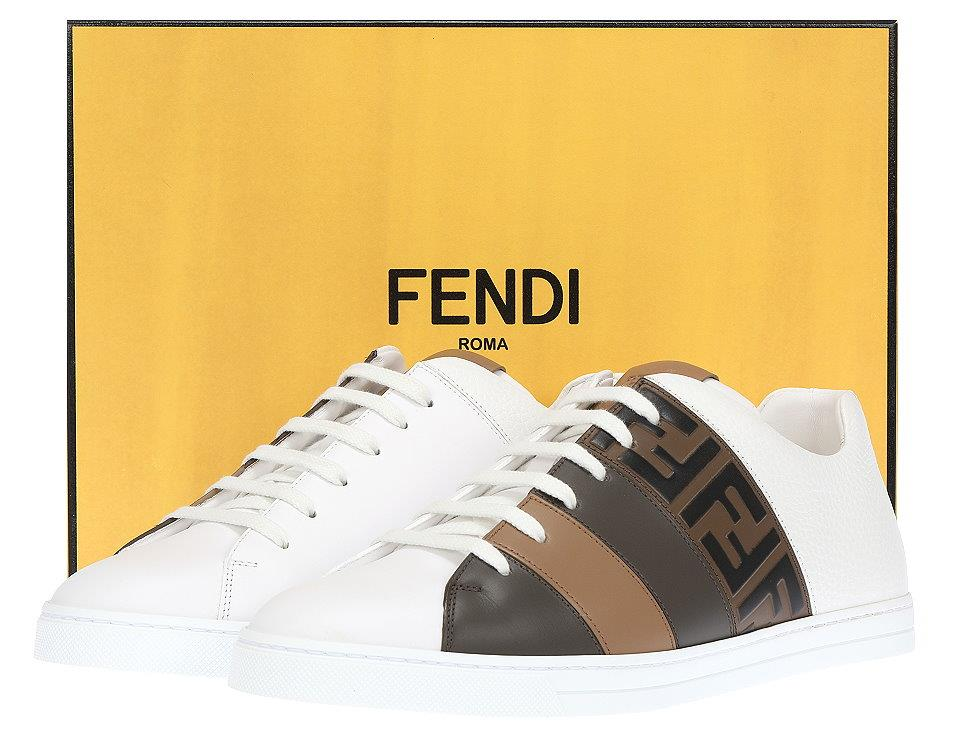 923936fe NEW FENDI WHITE LEATHER FF ZUCCA LOGO LOW TOP SNEAKERS SHOES 7/US 8 ...
