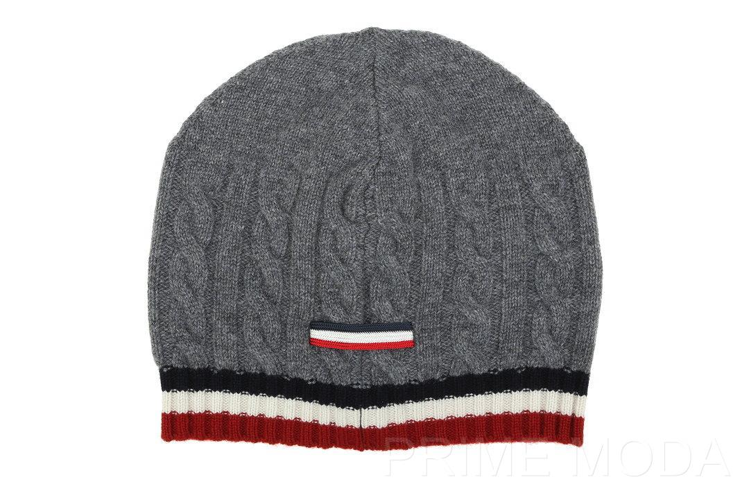 sports shoes 73482 4830f LUXURY QUALITY SOFT STRETCH 100% CASHMERE HAT IN A GRAY COLOR, RED WHITE  NAVY WEB DESIGN. LOGO STRIPE AT THE BACK. ONE SIZE.