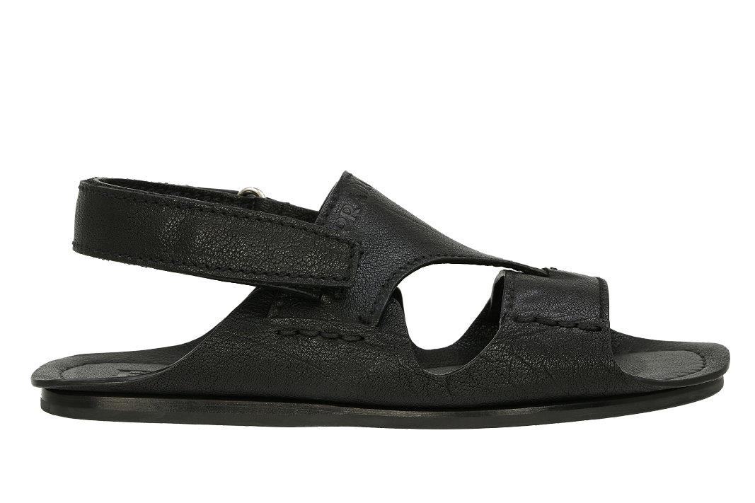 0022f7522 NEW PRADA BLACK LEATHER LOGO ADJUSTABLE SANDALS FLIP FLOPS 6 US 7