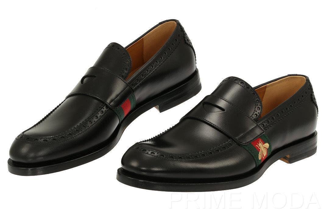 d8c86177a87 Details about NEW GUCCI BLACK LEATHER WEB BEE LOAFER CASUAL DRESS SHOES  8 US 8.5