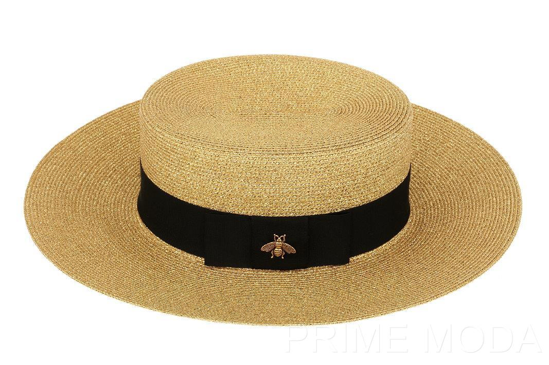 b6511d9d ... Gucci Straw Hat: NEW GUCCI ALBA LUXURY GOLD BEE LOGO STRAW FEDORA  BUCKET ...