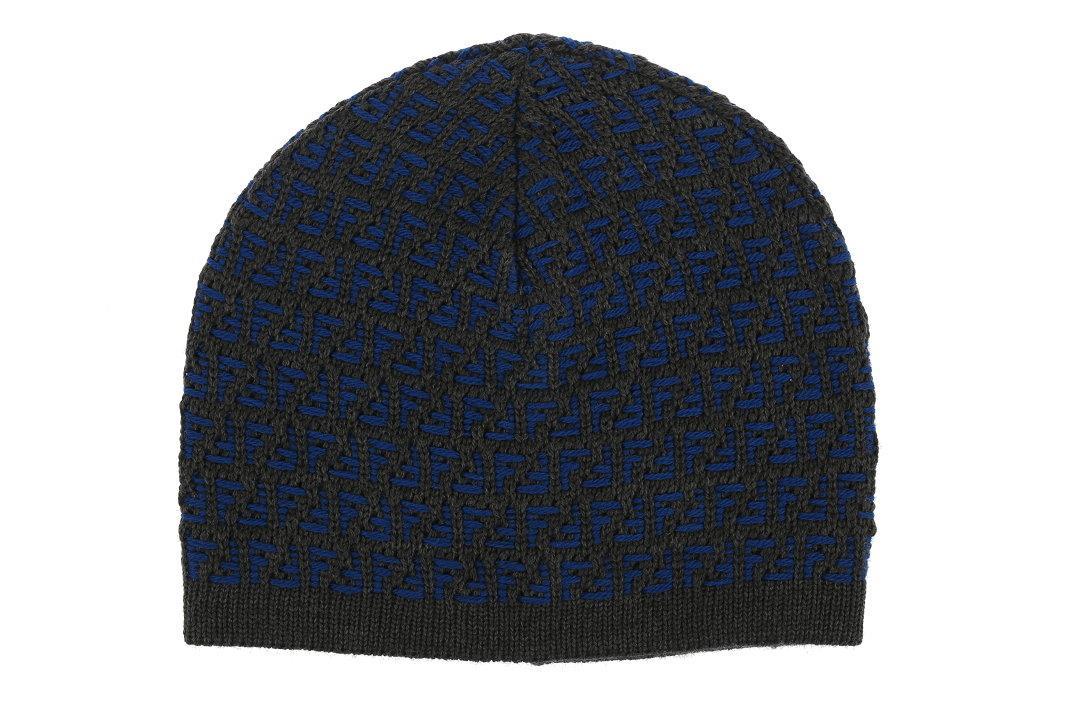 93ea02f9 NEW FENDI LUXURY BLUE GRAY ZUCCA PRINT 100% WOOL BEANIE HAT ONE SIZE ...