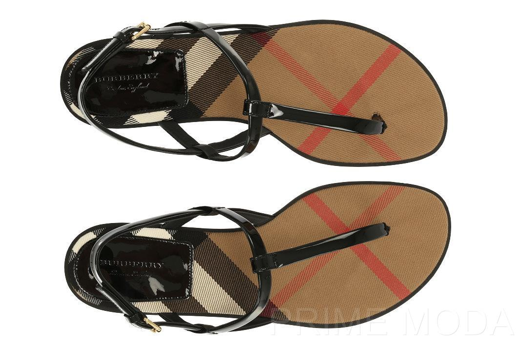 bbd4ce7c7c929 NEW BURBERRY CHECK LINING LEATHER THONG SANDALS FLIP FLOPS SHOES 37 ...