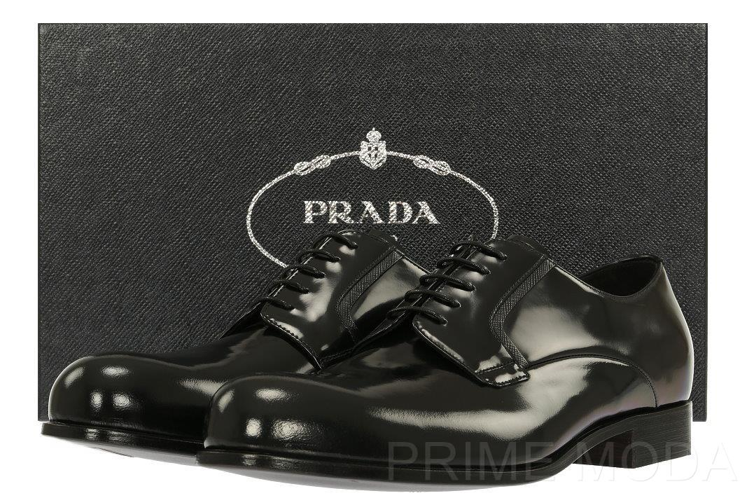 54b46d2c5 NEW PRADA MILANO LUXURY BLACK SMOOTH LEATHER OXFORDS DRESS SHOES 9 ...