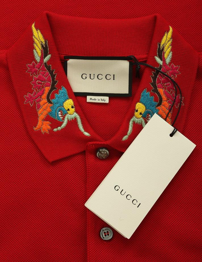 c56d85d90a87 LUXURY QUALITY RED COLOR STRETCH GRAINED TEXTURE COTTON, 93% COTTON, 7%  ELASTAN POLO STYLE SHIRT. PEARLY BUTTONS GUCCI STAMPED. DRAGON COLLAR  EMBROIDERY.