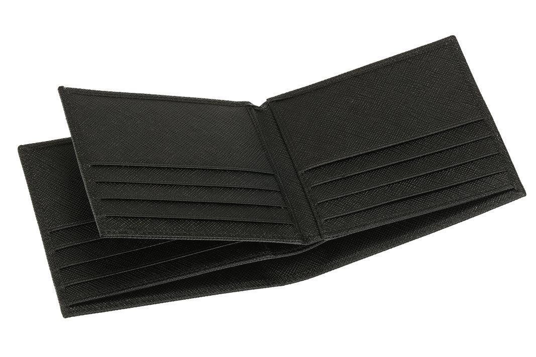 NEW PRADA MILANO MEN\'S BLACK SAFFIANO LEATHER BI-FOLD WALLET ID CARD ...
