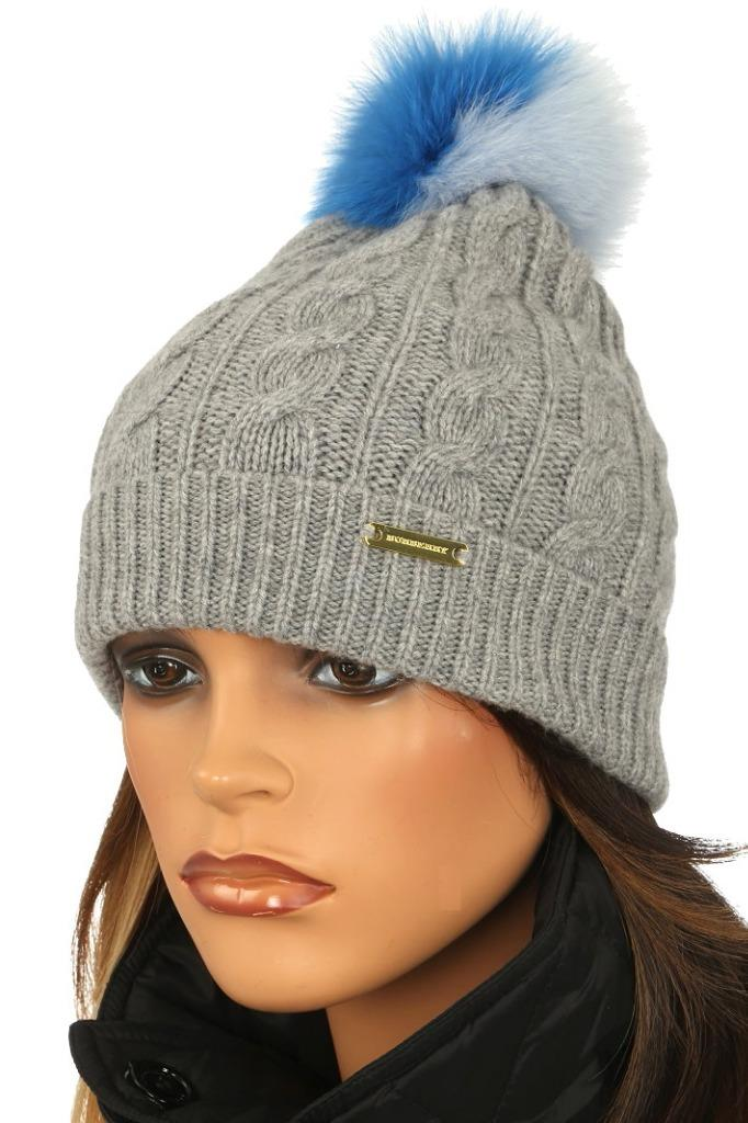 aa87ec9b34c NEW WITH TAG BURBERRY LADIES FABULOUS WINTER POM POM BEANIE HAT. 100%  AUTHENTICITY GUARANTEED. LUXURY QUALITY GRAY COLOR CABLE KNIT TEXTURE 73%  WOOL