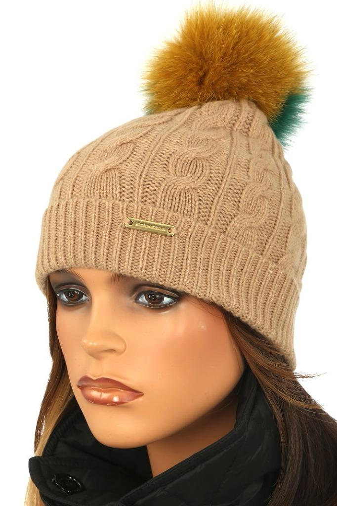 ea9936bf94b NEW WITH TAG BURBERRY LADIES FABULOUS WINTER POM POM BEANIE HAT. 100%  AUTHENTICITY GUARANTEED. LUXURY QUALITY BEIGE COLOR CABLE KNIT TEXTURE 73%  WOOL