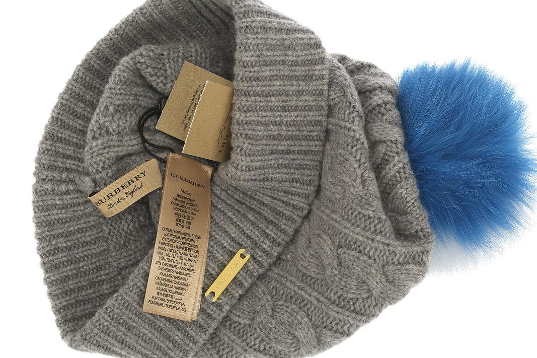 23cb49c7ef4 NEW WITH TAG BURBERRY LADIES FABULOUS WINTER POM POM BEANIE HAT. 100%  AUTHENTICITY GUARANTEED. LUXURY QUALITY GRAY COLOR CABLE KNIT TEXTURE 73%  WOOL