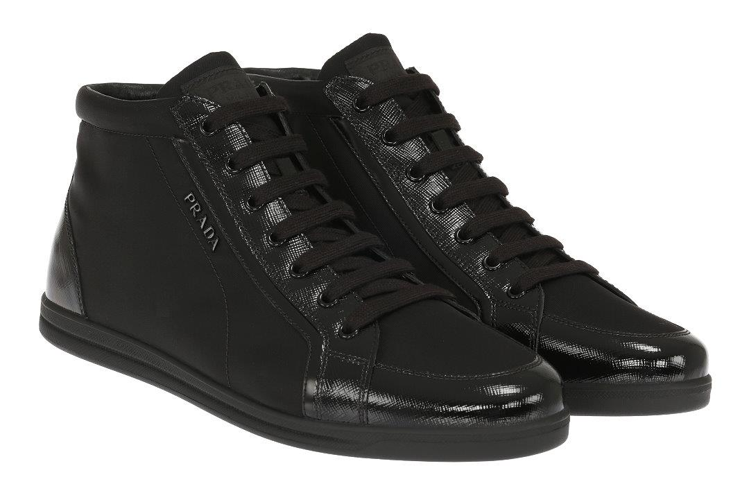 2b4628c203b Details about NEW PRADA LUXURY BLACK TESSUTO LEATHER LOGO HIGH TOP WEDGE  SNEAKERS SHOES 40 10