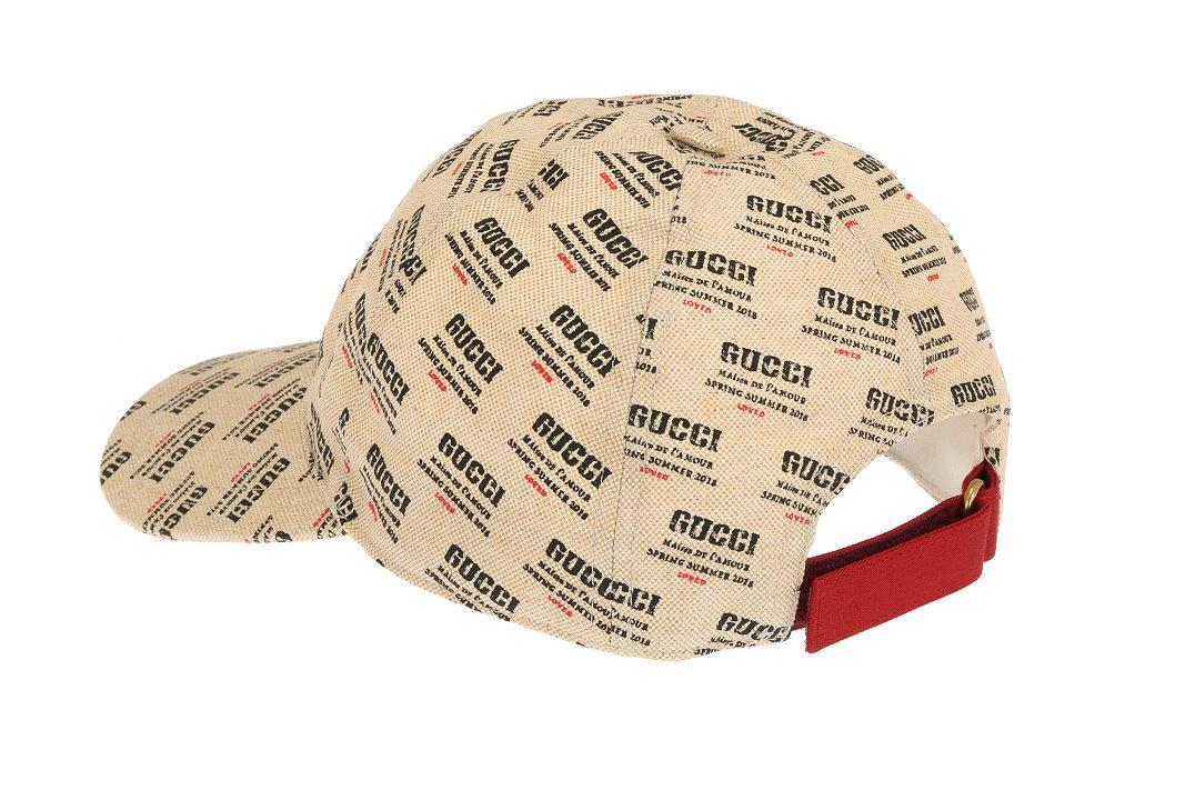 59fa19c277328 Details about NEW GUCCI MEN S INVITE PRINT CANVAS LINEN COTTON LOGO  BASEBALL CAP HAT 58 M