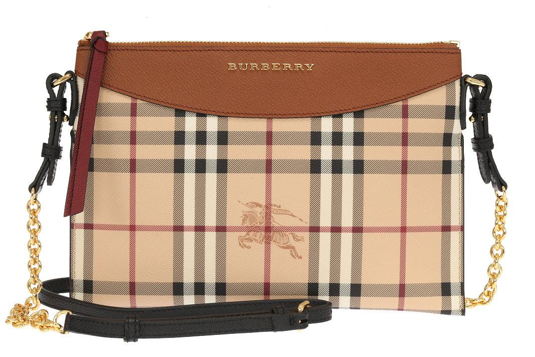 ef35c20e384 LUXURY QUALITY HAYMARKET CHECK PRINT, BURBERRY LETTERING AT THE FRONT, TOP  ZIPPER CLOSURE. ADJUSTABLE AND DETACHABLE SHOULDER STRAP WITH GILD CHAIN.