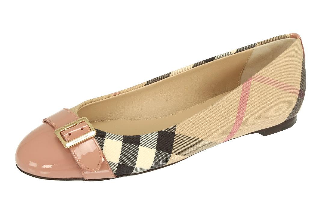 94c1481791d6a LUXURY QUALITY NUDE PINK 100% PATENT LEATHER TOE, SIGNATURE CHECK PRINT  CANVAS. 100% LEATHER LINING. 100% LEATHER SOLE. SHOES MARKED SIZE BURBERRY  36, US 6