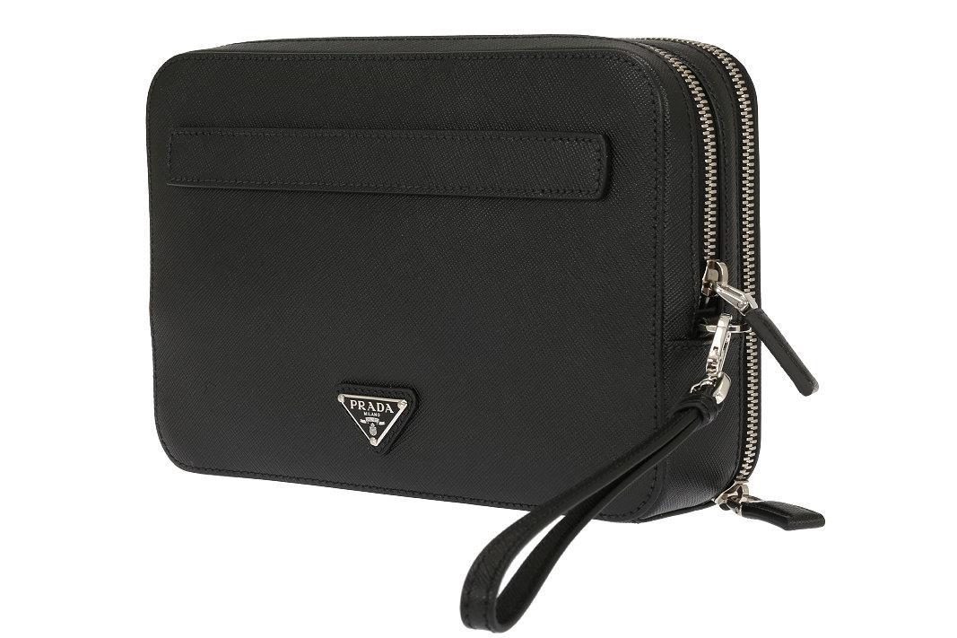 Details about NEW PRADA MEN S LUXURY BLACK SAFFIANO LEATHER LOGO WRISTLET  CLUTCH BAG d074dc8380644