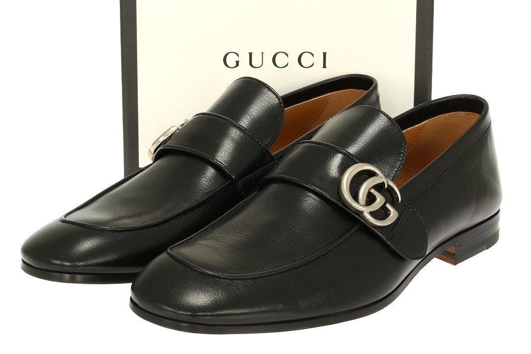 4f4a396b637 Details about NEW GUCCI BLACK LEATHER DOUBLE G LOAFERS SHOES 7 US 7.5