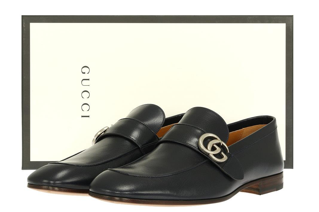 76975776820 Details about NEW GUCCI CURRENT MEN S BLUE LEATHER DOUBLE G LOAFERS SHOES 8  US 8.5
