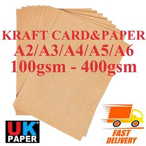 5 x A4 Kraft Brown Parcel Package Colour Card 350gsm Sheets Craft