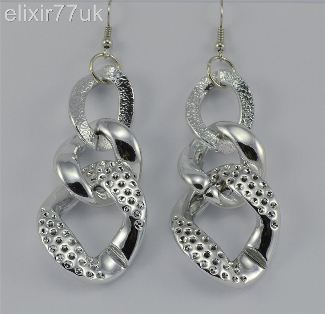 New Large Gold Silver Celebrity Chunky Hoop Chain Drop