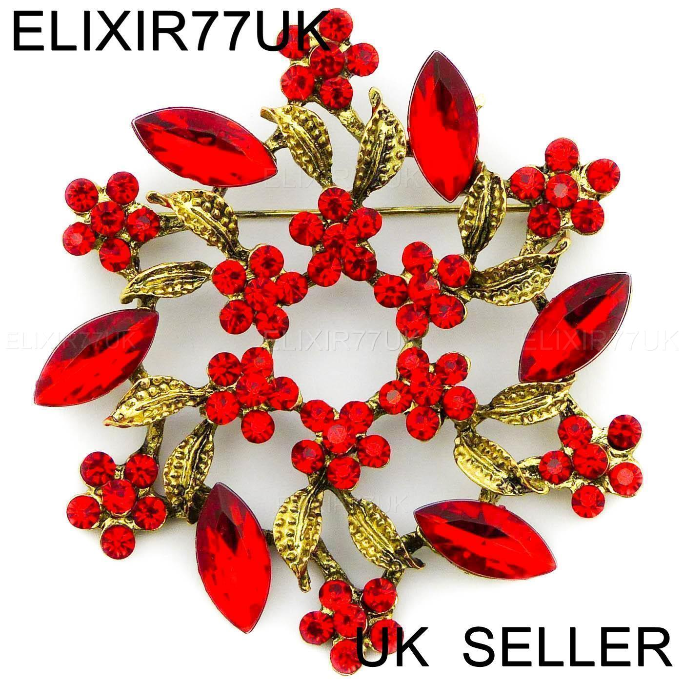 d996f1a80313a LARGE RED DIAMANTE CRYSTAL VINTAGE FLOWER BROOCH PIN BOUQUET ANTIQUE ...