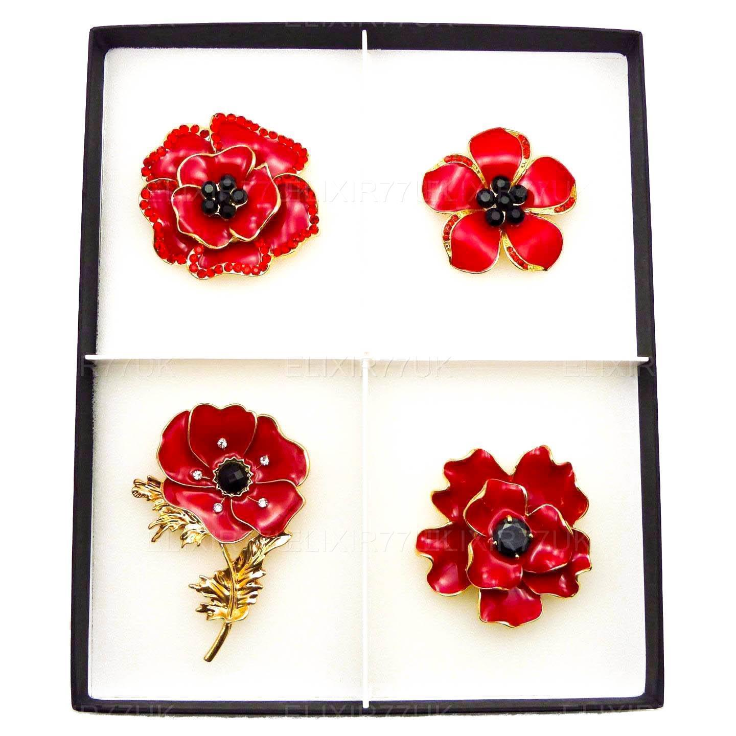Women red poppy flower brooches enamel pins badge broach crystal new women red poppy flower brooches enamel pins badge mightylinksfo