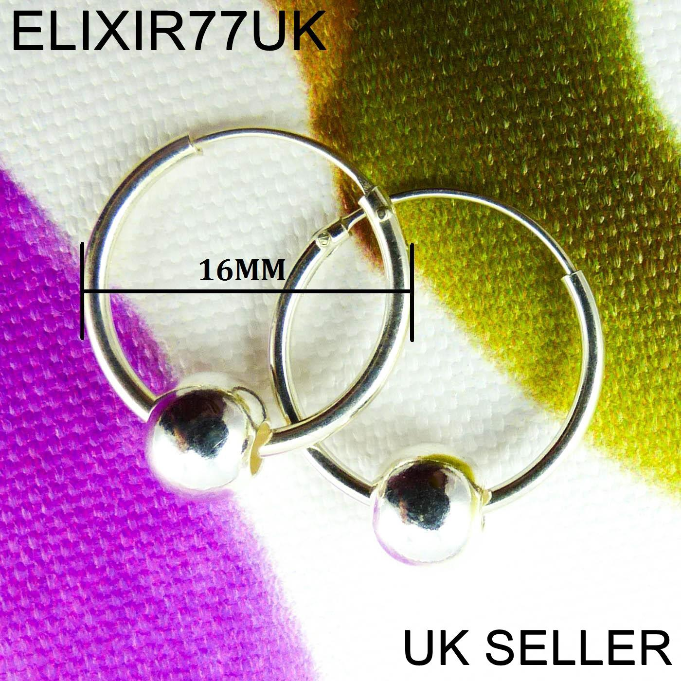 NEW-STERLING-SILVER-HOOPS-EARRINGS-SMALL-LARGE-BALL-SET-SOLID-STUD-WOMENS-LADIES